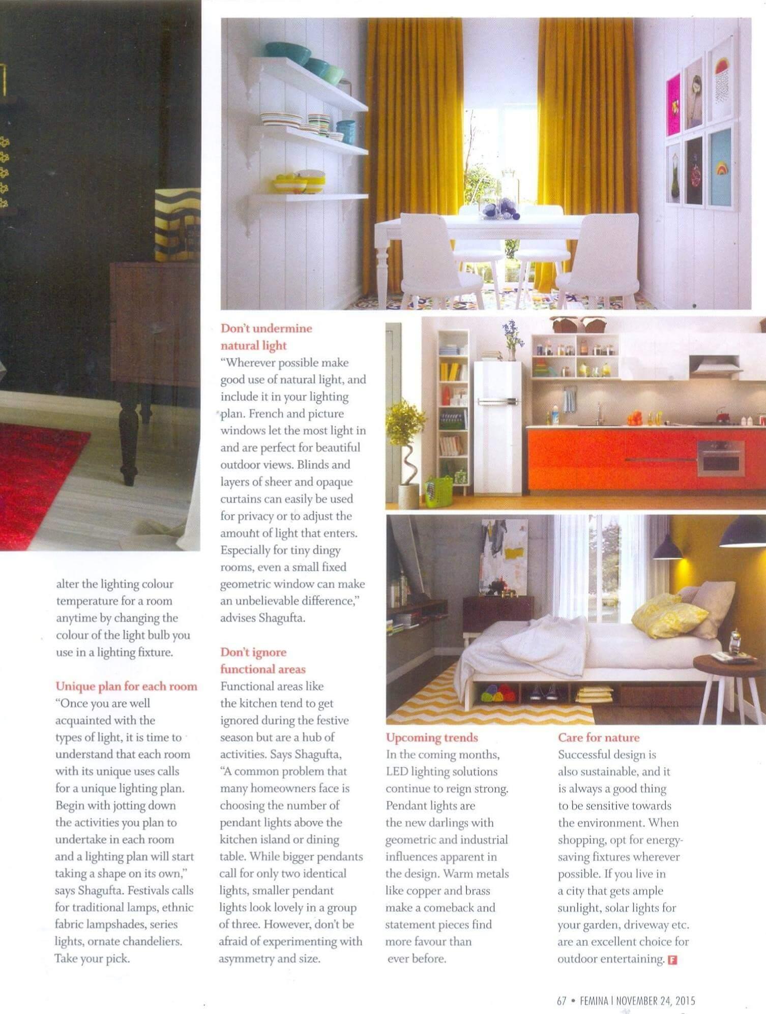 Livspace on Femina magazine